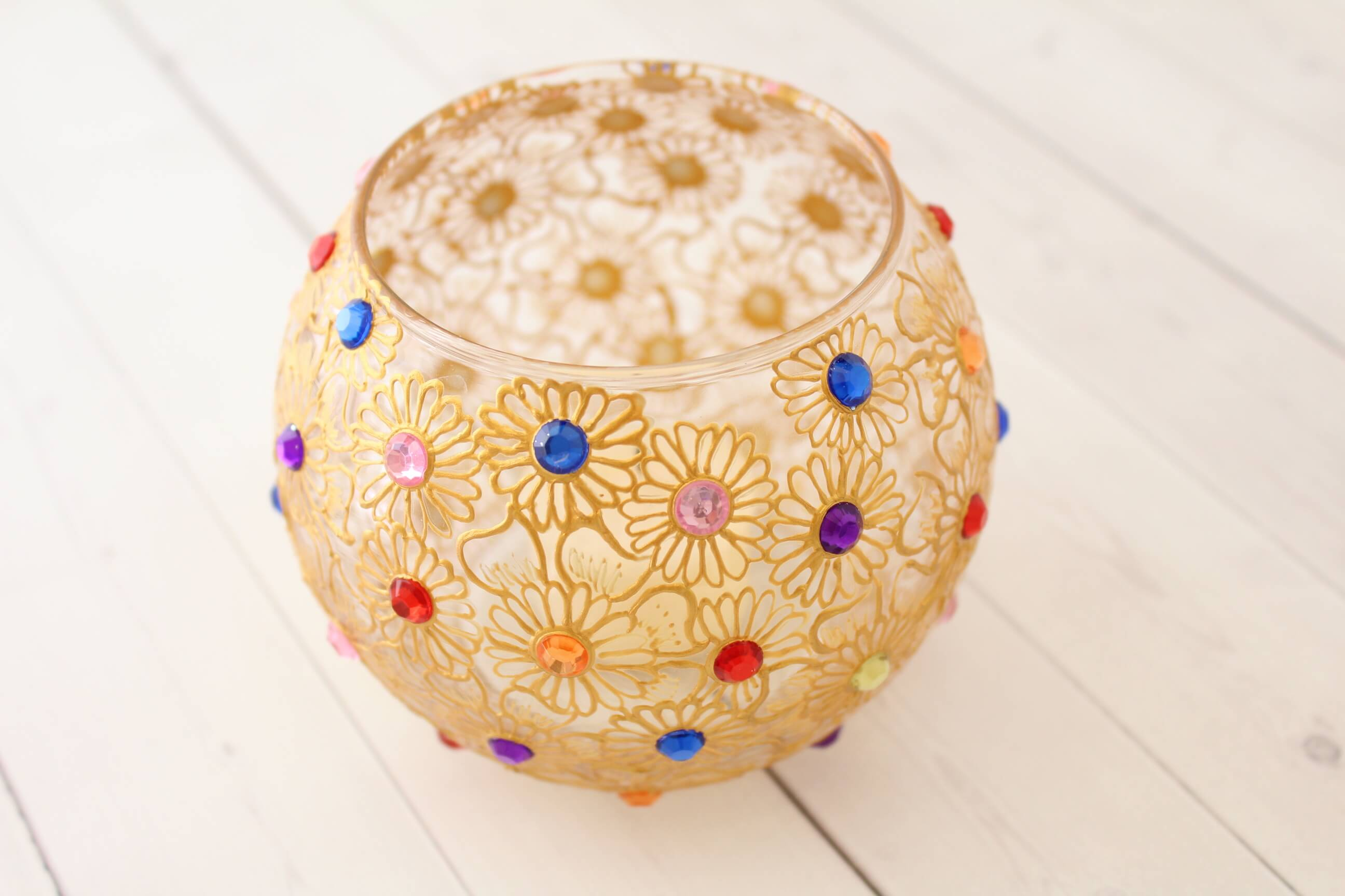 Beautiful Golden Candle Holder - Henna Art