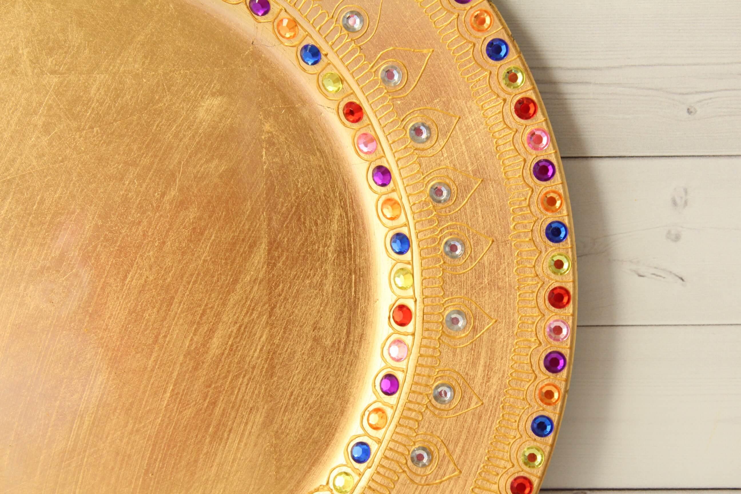 Golden Charger Plate - Lavender Henna
