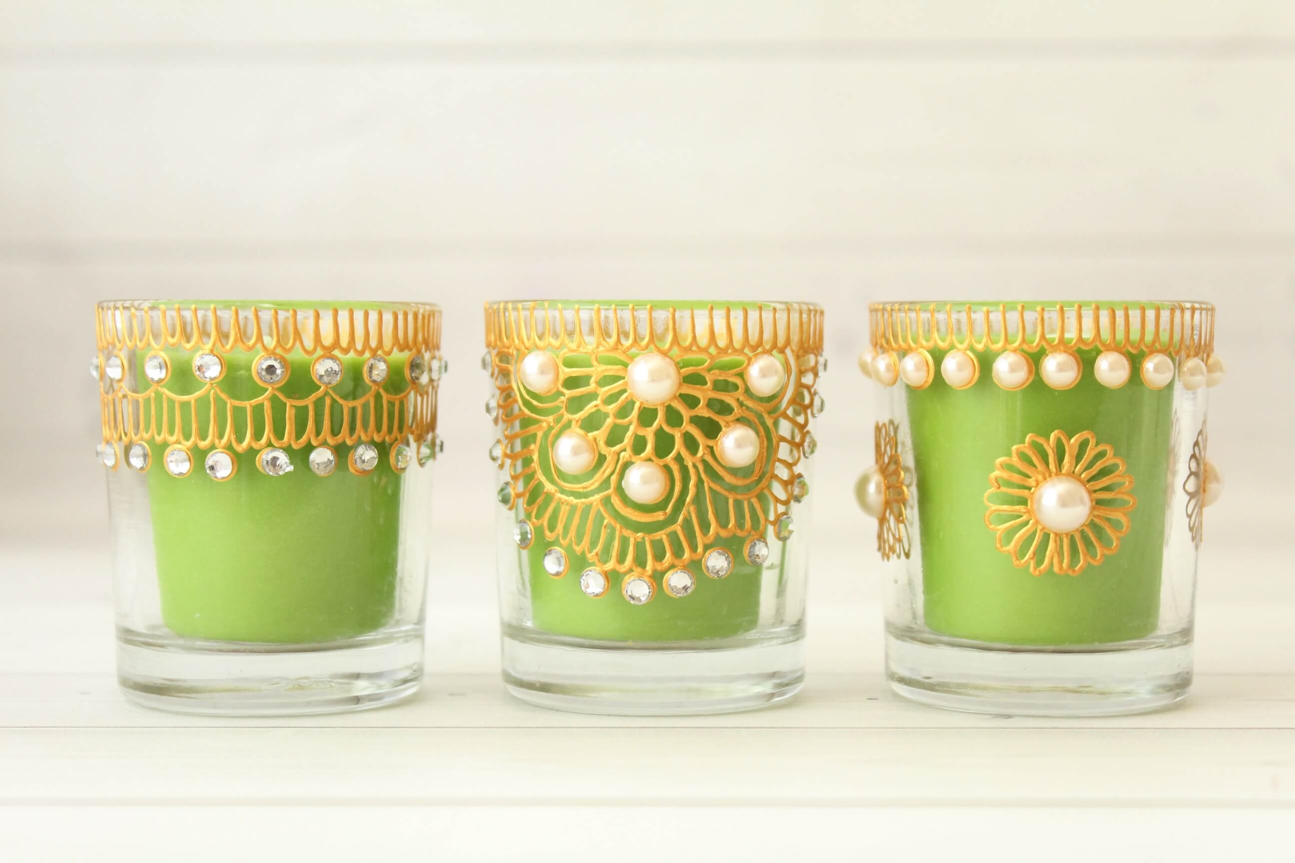 Votive Candle Holders - Green Color