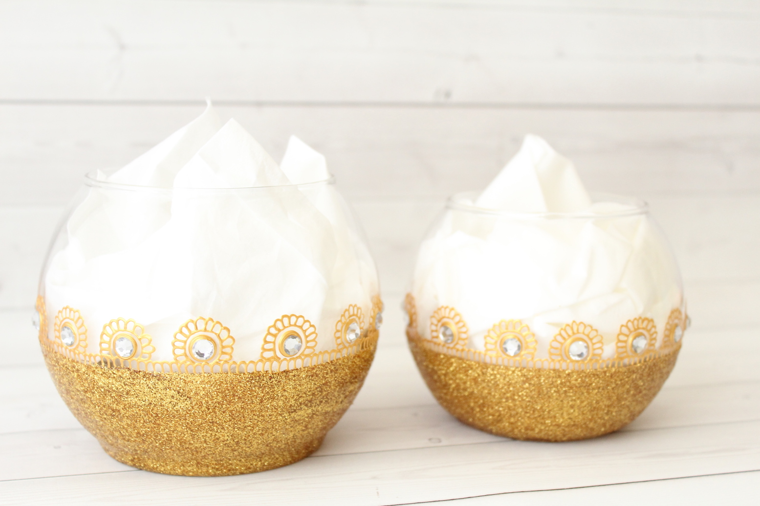 Glitter Candle Holder Bowls Set
