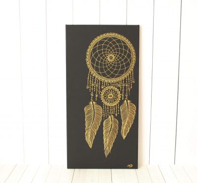 gold dream catcher painting from Lavender Henna